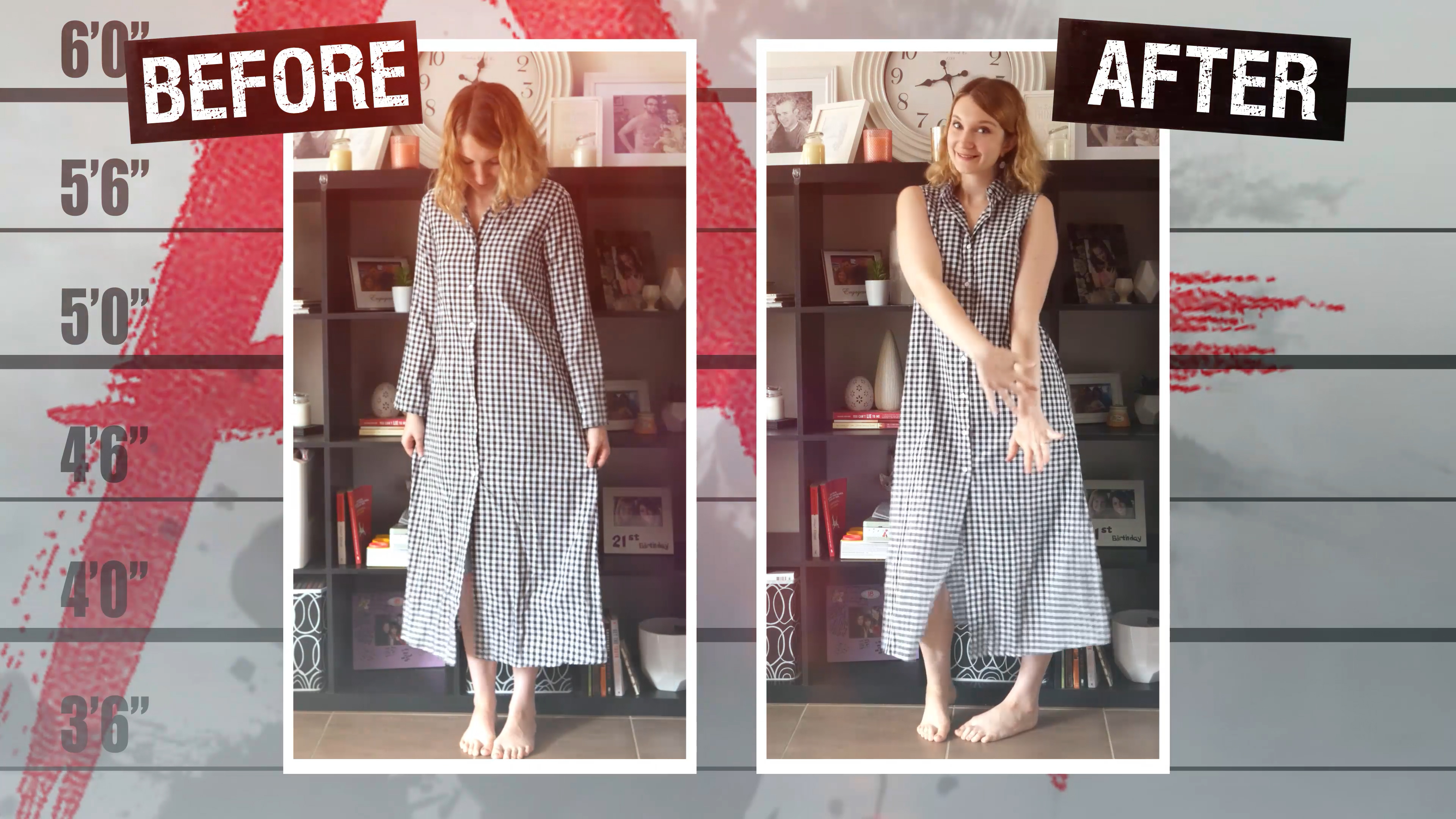 Before and After Plaid Dress Refashion