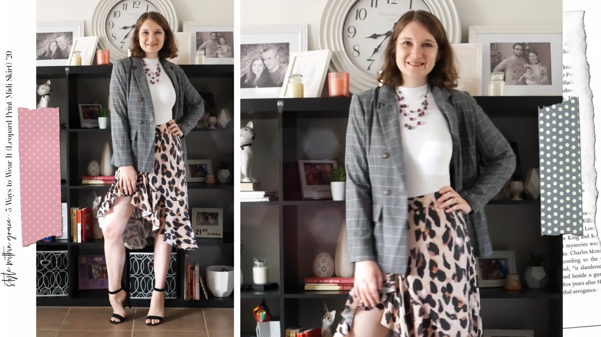 Leopard Print Midi Skirt Work Outfit 1