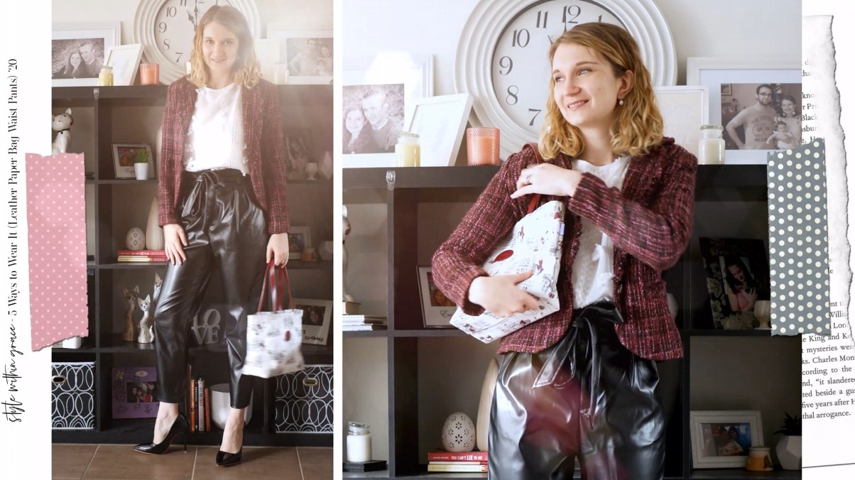 Leather Paper Bag Waist Pants Outfit 01