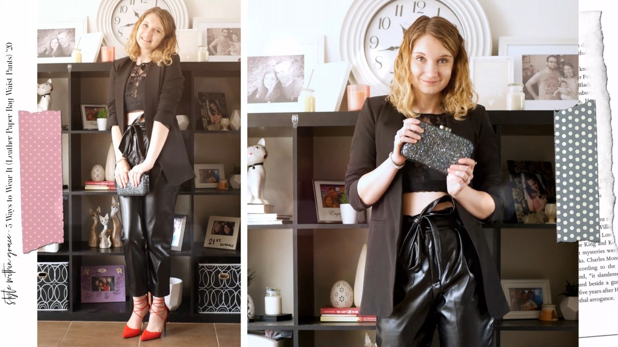 Leather Paper Bag Waist Pants Outfit 05